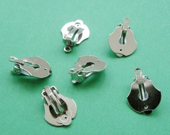 Earring Clips Base 6pcs 14mm Silver Color Earring Clip Post M77--20% OFF