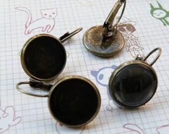 Earring Base 10pcs Antique Bronze Cabochon Earring Setting 18mm Pad M52--20% OFF