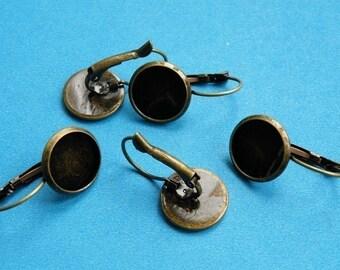 Earring Base 50pcs Antique Bronze Cabochon Earring Setting 12mm Pad M49--20% OFF