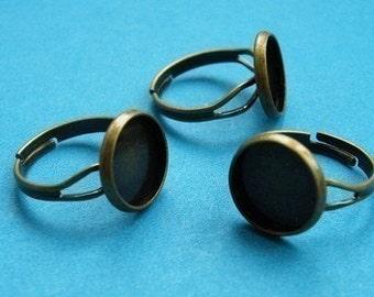 Ring Blanks -- 50pcs Adjustable Antique Bronze Ring Base 12mm pad H79--20% OFF