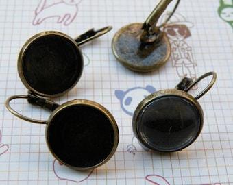 Earring Base 40pcs Antique Bronze Cabochon Earring Setting 14mm Pad M50--20% OFF