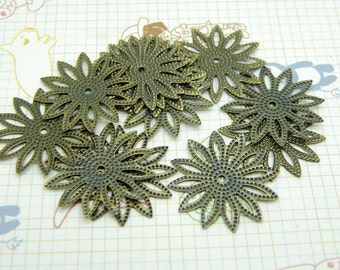 30pcs 20mm Antique Bronze Filigree Flower Base S152--20% OFF