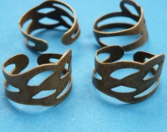 10pcs Antique Bronze Filigree Ring Base H11--20% OFF