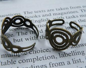 10pcs Antique Bronze Filigree Ring Blanks H13