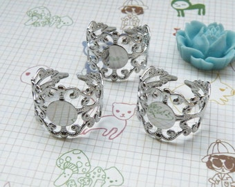 Ring Blanks -- 5pcs Adjustable Antique Silver Ring Base 8mm pad H16--20% OFF