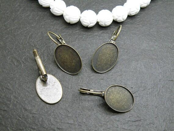 Earring Base 50pcs Antique Bronze Cabochon Earring Setting 13x18mm Pad M65--20% OFF