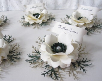Winter Time Paper Flower Place Cards