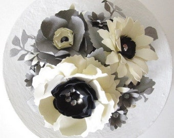 Ivory and Grey Paper Flower Cake Topper