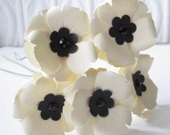 5 Ivory Poppies Handmade Paper Flower