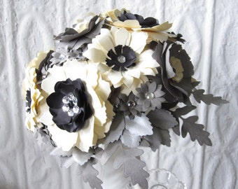 Paper Flower Bouquet in Grey, Cream and Black