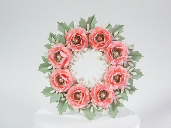 Paper Rose and Leaf  Wreath Wedding Cake Topper