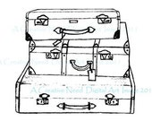 INSTANT download Vintage Travel LUGGAGE Digital Stamp Image for your Scrapbooking, card making, ATC's, Art, Mixed Media