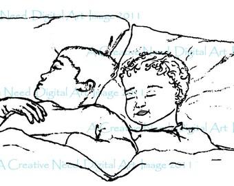 INSTANT DOWNLOAD All Snug in their Beds Digital Stamp Image
