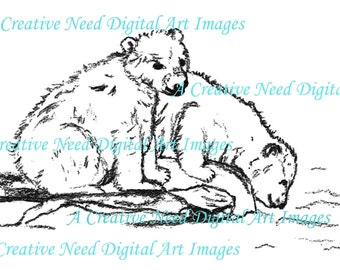 INSTANT Download Polar BEARS Digital Stamp Image for CARDS, Scrapbooking and mixed media art