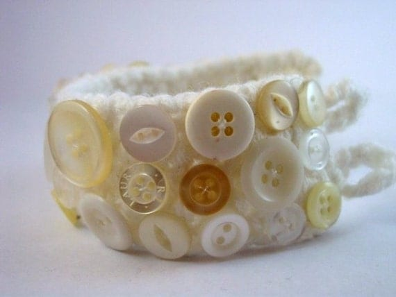 White and Cream Upcycled Button and Crochet Bracelet