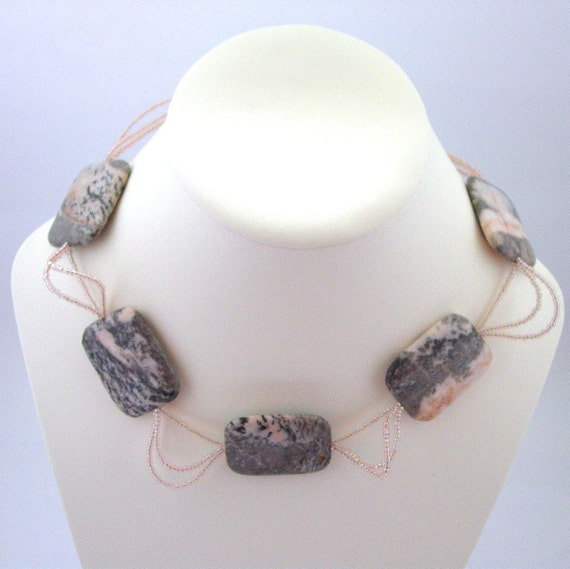 Half Price Sale - Pink and Grey Necklace- Pink and Gray Necklace - Flamingo Jasper Necklace