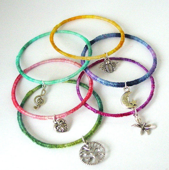 WHOLESALE 20 x Handwrapped Bangle with silver charm - BRIDESMAID, Party Favours, Graduation gift