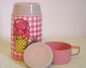 Vintage 1970's Pink and white Strawberry Ice Cream Cone Thermo Bottle
