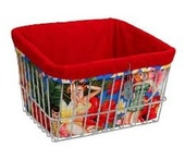 Bike Basket Liner Tote Bag - Island Girl Gidget by Couture Cruiser - Red Tropical Hibiscus Retro Girls