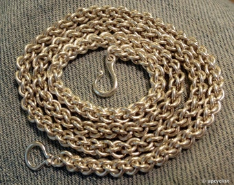 """Chainmaille Neck Chain, 18"""" Argentium, Jens Pind Linkage"""