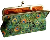 Peacock Feathers Clutch in Green and Copper Silk Lined