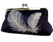 Pure Silk Embroidered Feathers Clutch in Navy Blue and Ivory