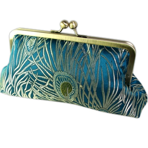 Peacock Clutch Purse in Teal and Gold Silk Brocade Antique Brass Frame