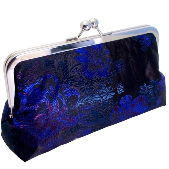 Floral Brocade Clutch in Black Royal Blue and Deep Purple