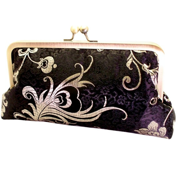 Peacock Feathers Black and Gold Metallic Brocade Clutch