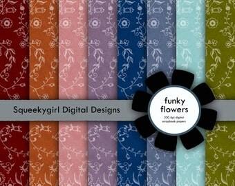 Funky Flowers Digital Paper - 8 pack - 12x12 in