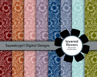 Layered Flowers Digital Paper - 8 pack - 12x12 in