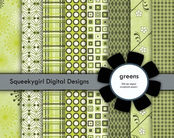 Green Digital Papers - 8 pack - 12 x 12 inches