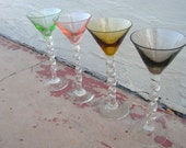 Vintage Glass Cordials Wine Glasses for Holiday Entertaining / set of four Cocktail Glasses with Twisted Stems / Hand blown Art Glass
