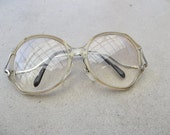 SALE Vintage Glasses Curvy Arms Eyewear Retro 1980s Pale Clear Yellow Tan Plastic Wire Metal Frames for Women