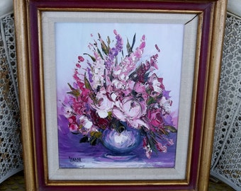 Vintage Painting Original Impasto Knife Palette Flowers Bouquet in Pink Lavender Purple Pink Framed Wall Art signed Wanda