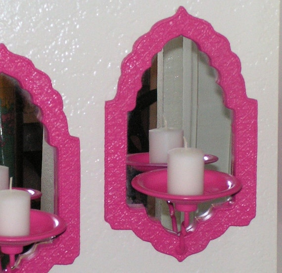 Pink Wall Sconce Candle Holder : Vintage Glamour Hot Pink Wall Sconces Mirror by retrosideshow