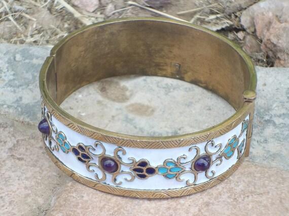 Vintage Hinged Bangle Cuff Bracelet Enamel Brass Copper Plated Tone