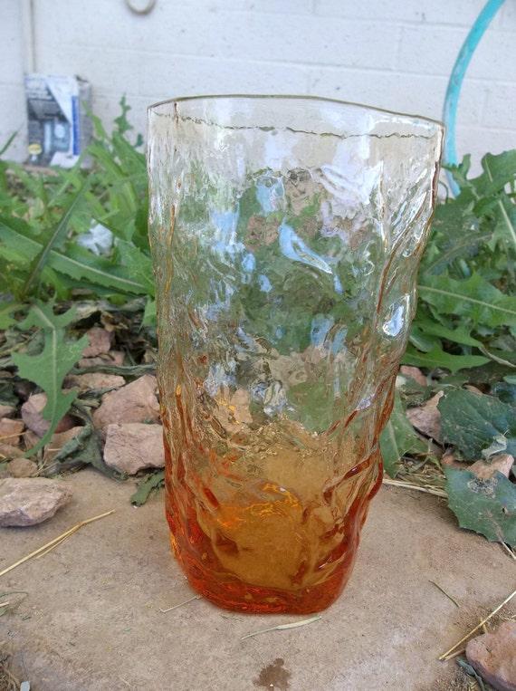 Seneca Glass Amber Crinkle Driftwood Water Juice Glass