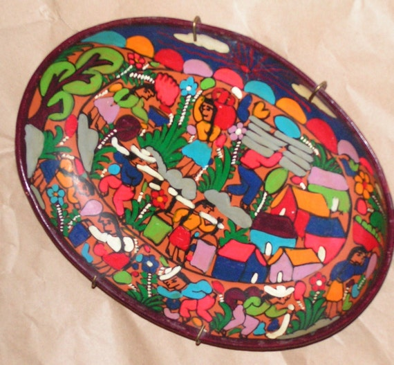 Vintage Mexican Folk Art Pottery Mexico Plate Wall Hanging