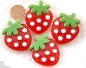 Strawberry Cabochons - 40mm Big Strawberry Resin Cabochons - 3 pc set