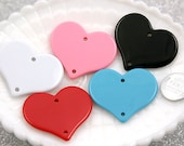 Heart Charms - 43mm Classic Heart Resin or Acrylic Charms or Pendants - 10 pcs set