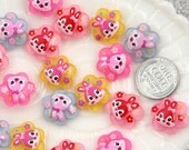 17mm Flower Bunny Resin Cabochons - 8 pc set