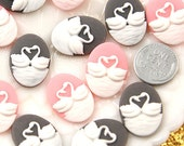 24mm Lovely Swan Cameo Resin Cabochons - 6 pc set