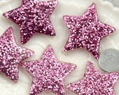 Resin Star Charms - 40mm Pinkish Lavender Glitter Stars Resin Charms - 4 pc set