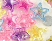 Star Charms - 34mm Super Fun Inner Bead Star Plastic Charms or Pendants - 5 pc set