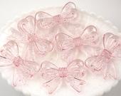 Glitter Beads - 47mm Glittery Pink Ribbon Resin Beads - 4 pc set