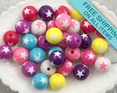 15mm Star Mix Colorful Resin Beads - 8 pc set
