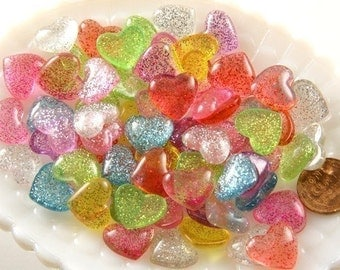 Glitter Heart Resin Cabochons - 15mm Candy Heart Cabochons - 12 pc set