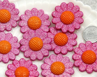 34mm Big Pink Sunflower Cabochons - 5 pc set