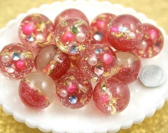 Glitter Beads - 25mm Light Pink Crystal Ball Resin Beads - 5 pc set